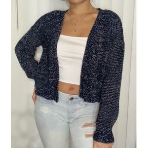 Blue Cropped Knit Cardigan